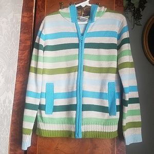 Adorable girls Old Navy M striped hooded sweater